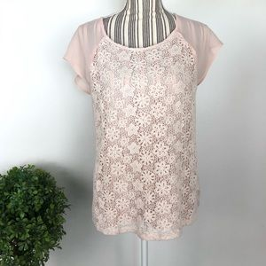 Forever 21 pink blush medium floral lace front top